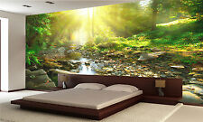 Mountain river in the green forest Wall Mural Photo Wallpaper GIANT WALL DECOR