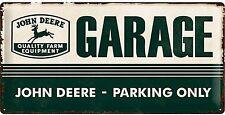 John Deere Garage large embossed metal sign 500mm x 250mm (na)