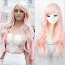 Women's New Hot Wavy Synthetic Wig Fashion Long Curly Light Pink Hair Full Wigs