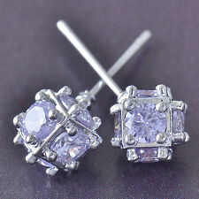 Bright Ball Purple Cubic Zirconia 9K White Gold Filled Stud Earrings, F5543