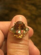 Solid 10k Yellow Sun  Mystic Topaz And Diamond Accent Ring Sizable  71/2