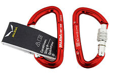 Pack of 2 climbing locking screwgate carabiners. Salewa Red Karabiners
