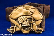 Pirate Belt Gold Skull Pirate Resin Stretch Elastic Belt