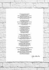 Edgar Allen Poe - Annabel Lee - Inspirational Poem - A4 Size