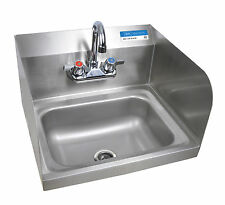 Commercial Kitchen Stainless Steel Wall-Mount Hand Sink with Side Splashes