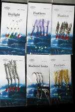 6 SETS FEATHERS LURES SPOONS MACKEREL MACKERAL POLLACK SEA FISHING BEACH BOAT