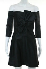 Carven Black Off Shoulder Bow Front Above Knee A Line Dress Size 6 NEW