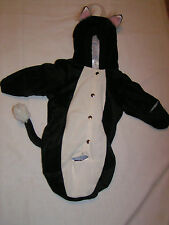 NEW PETABLES BUNTING BLACK W/ WHITE KITTY CAT BABY COSTUME 0-12 MONTHS WARM