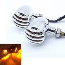 2x Motorcycle Chrome Turn Signals Mini Bullet Blinker Amber Indicator Light Lamp