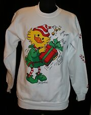 Suzy's Zoo Christmas Sweatshirt Sz S Vtg Ugly? Cute? Duck Present