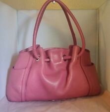 COLE HAAN-LARGE GENUINE PEBBLE LEATHER ROLLED HANDLES HOBO-ROSE PINK