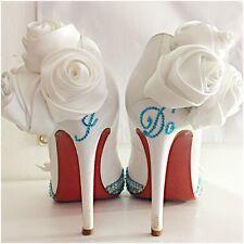 Christian Louboutin Pigalle 120 Satin 38.5 White Wedding Swarovski Custom Strass