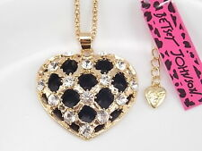 Betsey Johnson Cute inlay Crystal hollow love heart Pendant Necklace # A183N