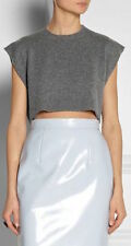 SCHOOL DAYS: Miu Miu Grey Cropped Cashmere Sleeveless Jumper New IT46/UK14