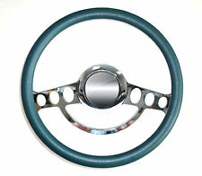 """Hot Rod Street Rod Rat Rod Chrome & Teal Blue Steering Wheel Nine Hole 14"""""""