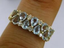 R251 Genuine 9ct Solid GOLD Natural Aquamarine & Diamond Anniversary Ring size N