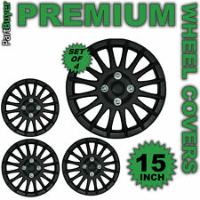 "Kappa Black 15"" WHEEL TRIMS/HUB CAPS Covers Universal SET OF 4"