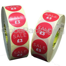 4000 x 'SALE £3' Retail Self Adhesive Red Shop Price Labels Stickers 35mm