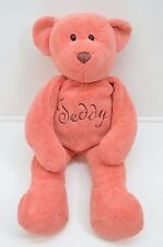 "DanDee Teddy Bear Plush Pink 24"" Large Cursive embroidered Tummy Super Soft"