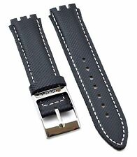 Fit For Swatch 17mm Black Leather Watch Strap SWC104 (Similar Strap)