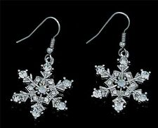 New FRozen Silver Tone Snowflake Clear Crystal Dangle Earrings Gift Boxed
