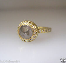 L Frank 18k Yellow Gold Halo Rose Cut Diamond Pave Ring