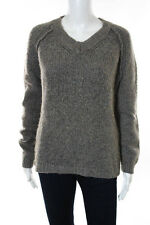 Inhabit Gray V Neck Long Sleeve Chunky Knit Sweater Top Size Large