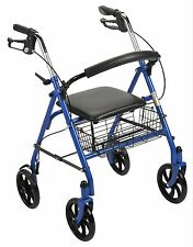 Stat Health Rollator Rolling Walker with Medical Curved Back Soft Seat - Blue