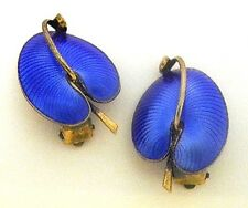 Sterling+Blue Enamel Leaf Earrings~Lily Pad~Signed E in Diamond~Norway Denmark