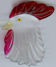 VINTAGE TRANSPARENT CLEAR LUCITE UNDER CARVED TINTED ROOSTER PIN