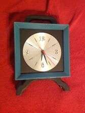 Welby Vintage Mantle Clock Wood Blue Painted Rare Cool 8 Inch Square