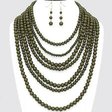 Olive Green Necklace Earrings Pearl Long Layered Statement Jewelry Set