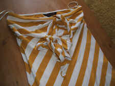 MISS SELFRIDGE 12 TOP MUSTARD AND WHITE BOLD STRIPES NECK TIES OR STRAPLESS