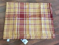 "WILLIAMS SONOMA Autumn Plaid TABLECLOTH 108"" Burnt Red FALL Mustard YELLOW NEW"