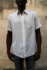 Hugo Boss Slim FIT made in Italy Short Sleeved Casual Striped Shirt L Super
