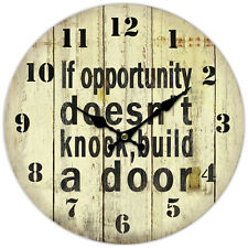 RETRO VINTAGE IF OPPORTUNITY DOESN'T KNOCK, BUILD A DOOR WALL CLOCK.NEW & BOXED