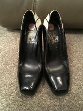 FOOT CANDY CREAM & BLACK PATENT EFFECT HIGH HEELED SHOES SIZE UK3 EUR35.5 - VGC