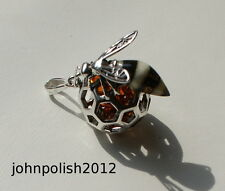 Bee on Honey Baltic Amber Pendant. Silver 925.
