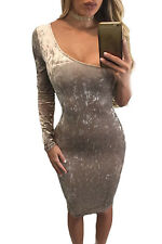 Abito aperto eco pelle scamosciata aderente nudo Mini Faux Suede Bodycon Dress S