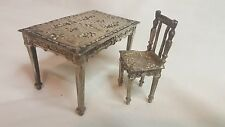 Ornate German Hanau silver miniature desk & chair