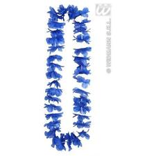 Dark Blue Hawaiian Leis Necklace Garland Hula Girl Beack Party Fancy Dress Prop