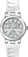Invicta Ceramics Multi-Function Silver Dial White Silicone Ladies Watch 22195
