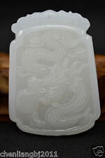 Crafted Chinese Natural White Jade Pendant Necklace Dragon