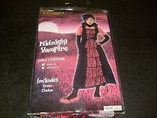 GOTH MIDNIGHT VAMPIRE GIRL HALLOWEEN COSTUME NEW MIP SIZE MED KIDS