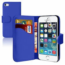 BLUE  Wallets leather plain Case Cover with clip and Card Slots for iPhone 4/4S