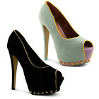 New Ladies Dolcis High Platform Stiletto Peep Toe Heels Shoes Size UK 3 - 8