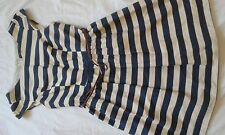 LADIES ATMOSPHERE BLUE AND CREAM STRIPE BELTED CAP SLEEVE DRESS SIZE 12