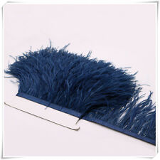 2 Plys Navy Ostrich Feather Trims Fringes Sewn on Feather 1 Yard  (USA)