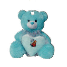 10 BLUE ACRYLIC/RESIN TEDDY BEAR PENDANT~Gifts~Baby Shower~Cards~Scrapbook (97H)