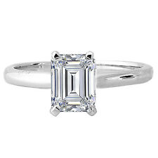 2 Carat 8x6 mm Emerald Cut Solitaire Engagement 14k White Gold Wedding Ring